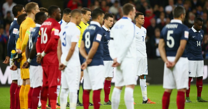 England and France observe a minute's silence to remember Paris' victims