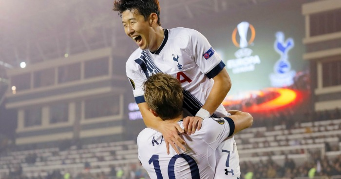 Harry Kane: Celebrates scoring for Tottenham with Son Heung-min