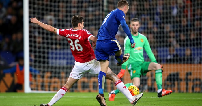 Jamie Vardy scores Leicester v Manchester United