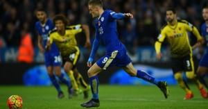 Jamie Vardy scores Leicester v Watford TEAMtalk
