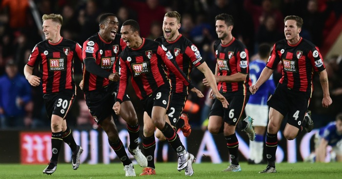 Bournemouth: Celebrate Junior Stanislas' equaliser against Everton
