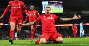 Martin Skrtel celebrates scoring Liverpool's fourth at Man City.
