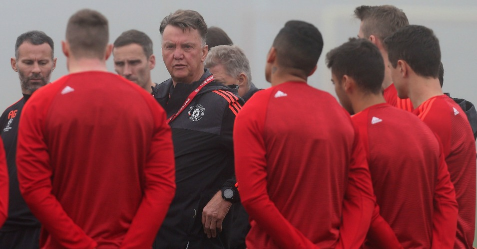 Louis van Gaal: Addresses his players during Monday morning's training session