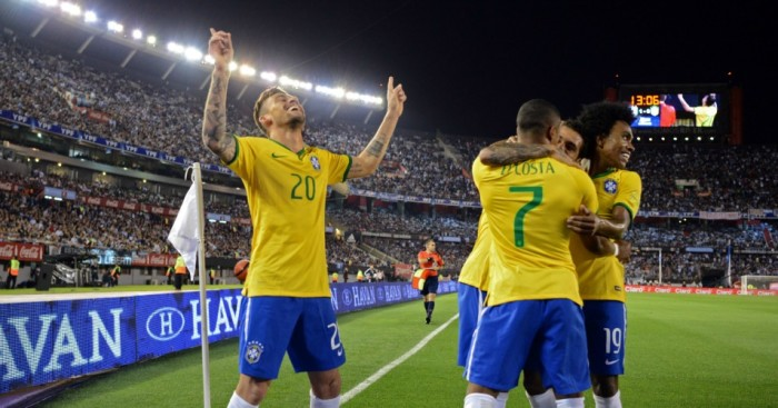 Lima: Forward celebrates scoring Brazil's equaliser