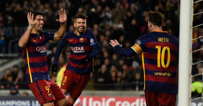 Luis Suarez Gerard Pique Lionel Messi Barcelona celebration