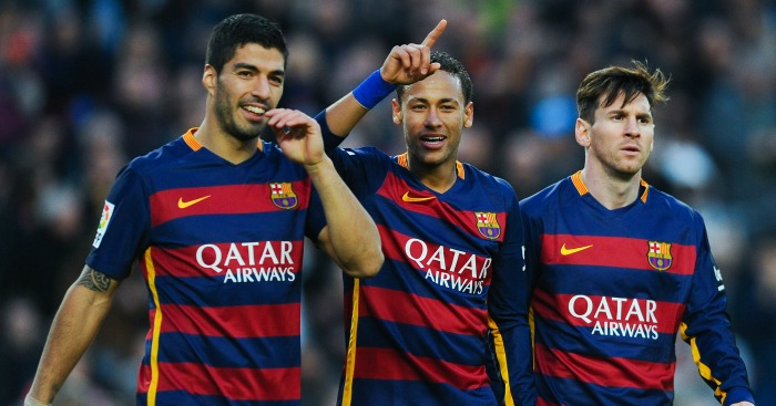 Luis Suarez, Neymar Lionel Messi Barcelona celebration