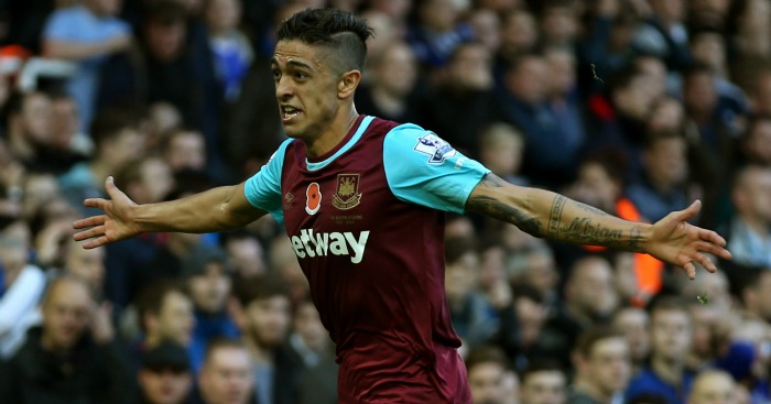 Manuel Lanzini: Celebrates West Ham's opener against Everton