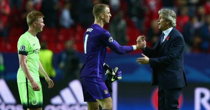 Manuel Pellegrini: Congratulates Joe Hart after Manchester City win