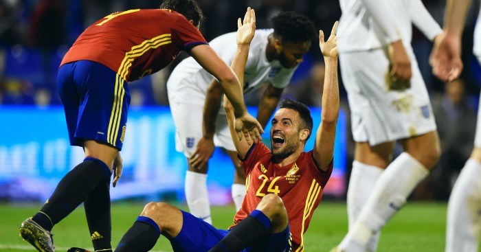 Mario: Celebrates his wonderful opener for Spain against England