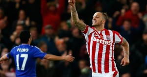 Marko Arnautovic celebrates his goal for Stoke against Chelsea