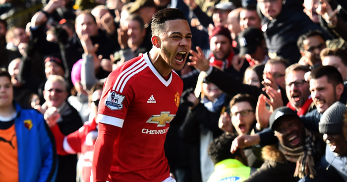 Memphis Depay: Celebrates his goal for Manchester United at Watford