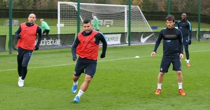 Pablo Zabaleta, Sergio Aguero and David Silva: Back in Manchester City training