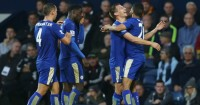 Riyad Mahrez: Celebrates scoring for Leicester City at West Brom