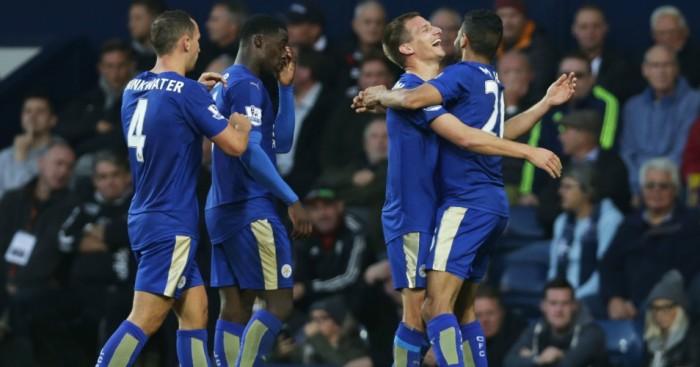 Riyad Mahrez: Celebrates scoring for Leicester City at West Brom
