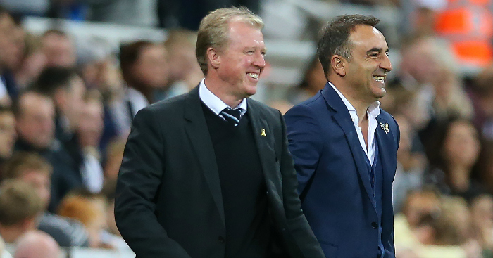 Steve McClaren: Shares a joke with Carlos Carvalhal - but what is being said?