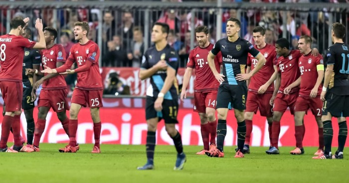 Bayern Munich: Celebrate Thomas Muller's goal against Arsenal