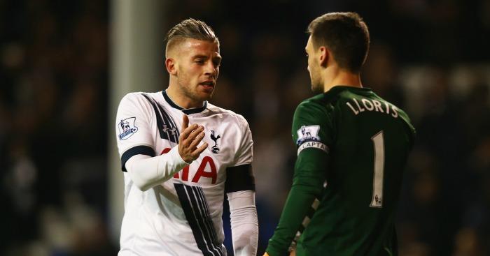 Toby Alderweireld and Hugo Lloris: Celebrate Tottenham's win over West Ham