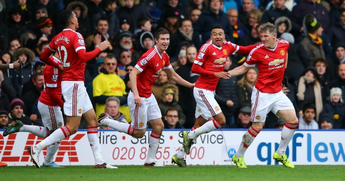 Winner: Manchester United players celebrate dramatic late goal