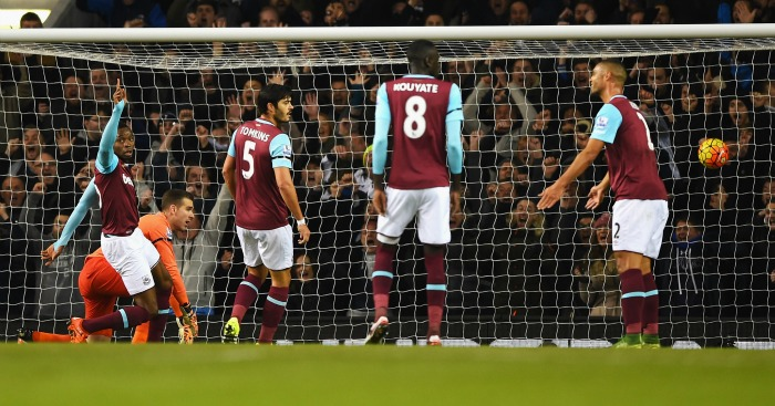 Second best: Hammers players look on after conceding