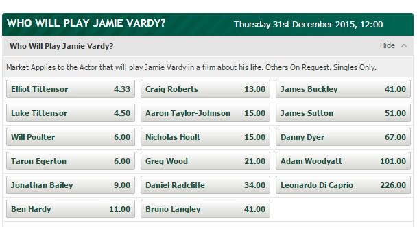 Jamie Vardy the movie: Actors odds