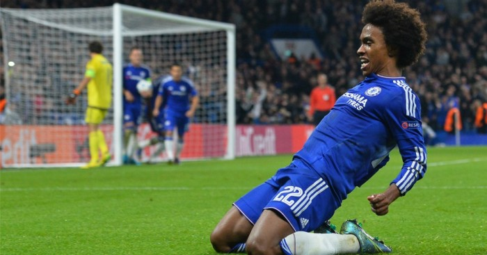 Willian: Celebrates scoring Chelsea's winner against Dynamo Kiev