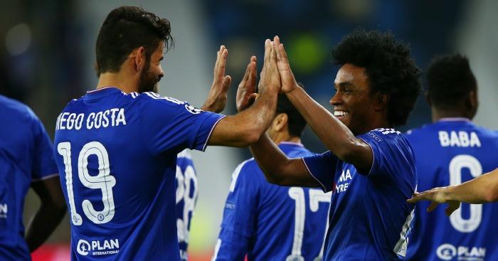 Willian: Celebrates scoring for Chelsea against Maccabi Tel Aviv