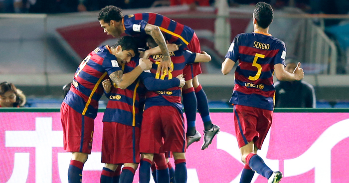 Luis Suarez: Celebrates one of his goals for Barcelona