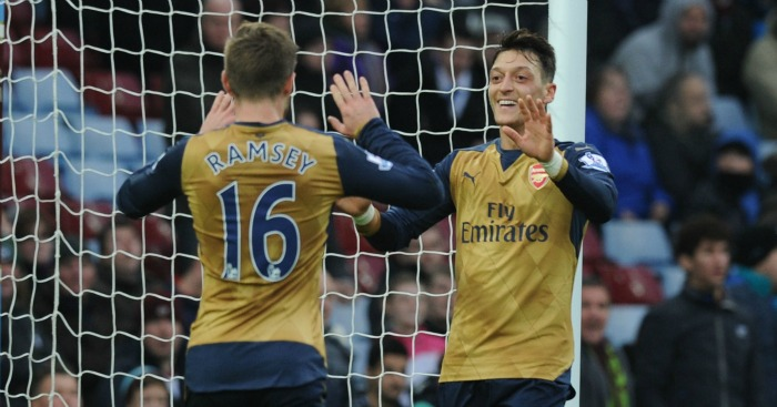 Mesut Ozil: Set up Aaron Ramsey for Arsenal's second goal at Aston Villa