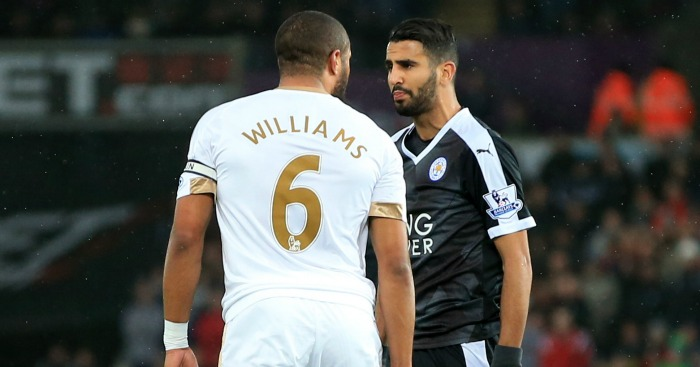 Ashley Williams: Squares up to Riyad Mahrez