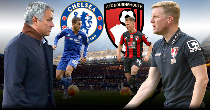 Jose Mourinho and Eddie Howe: Lock horns when Chelsea host Bournemouth