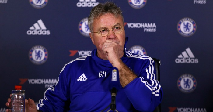 "Chelsea's interim manager Guus Hiddink during the press conference at Cobham Training Ground, London. PRESS ASSOCIATION Photo. Picture date: Wednesday December 23, 2015. See PA story SOCCER Chelsea. Photo credit should read: Steve Paston/PA Wire. RESTRICTIONS: EDITORIAL USE ONLY No use with unauthorised audio, video, data, fixture lists, club/league logos or ""live"" services. Online in-match use limited to 75 images, no video emulation. No use in betting, games or single club/league/player publications."