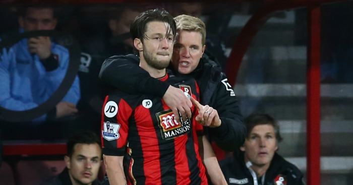 Harry Arter: Embraced by Eddie Howe during Bournemouth's win over Manchester United