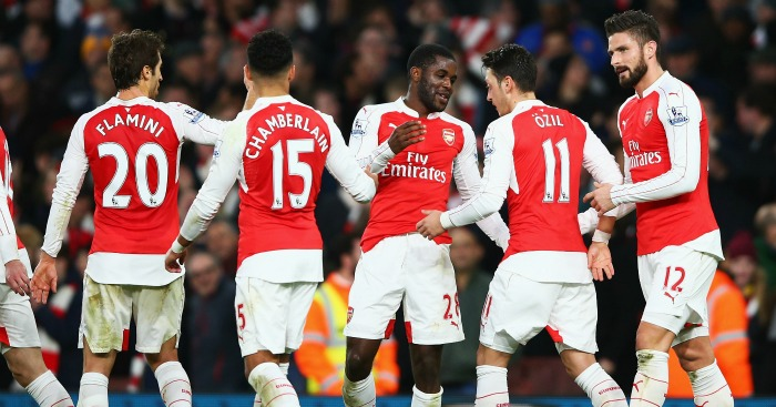 Joel Campbell: Celebrates Arsenal's opener against Sunderland