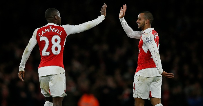 Theo Walcott: Celebrates his goal with Joel Campbell