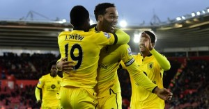 Joleon Lescott: Celebrates his goal for Villa at Southampton