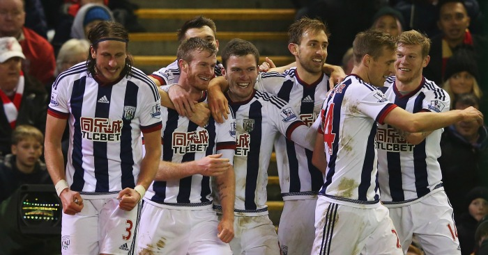 West Brom: Celebrate Jonas Olsson's goal at Liverpool