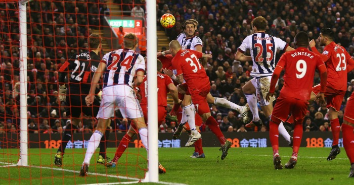 Jonas Olsson scores v Liverpool