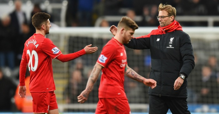 Jurgen Klopp: Greets Adam Lallana after Liverpool's defeat at Newcastle United