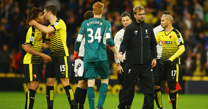 Jurgen Klopp: Pictured with Adam Bogdan at Vicarage Road