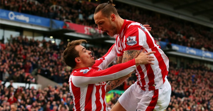 Marko Arnautovic and Xherdan Shaqiri celebrate for Stoke