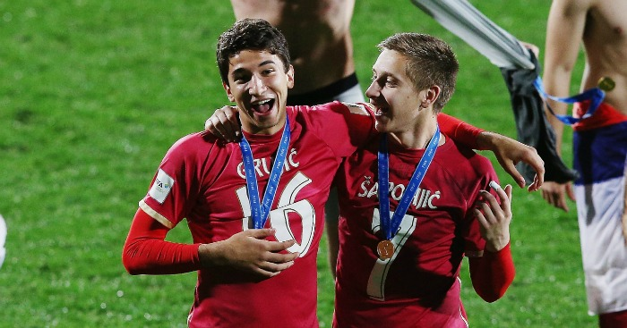Marko Grujic (left): Will sign for Liverpool but stay at Red Star on loan