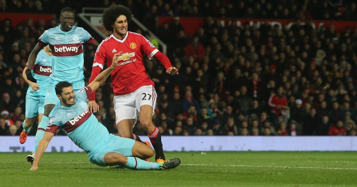 Marouane Fellaini: Lucky to escape red card for this challenge on James Tomkins