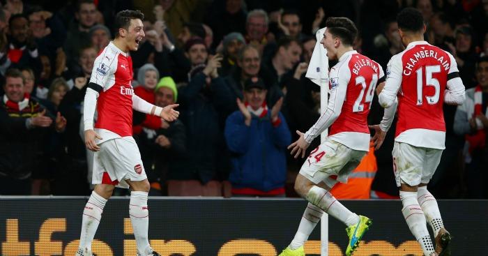 Mesut Ozil: Playmaker celebrates second goal against Bournemouth