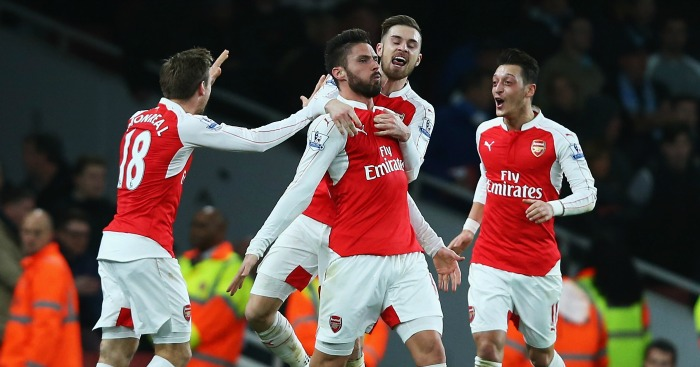 Olivier Giroud: Celebrates Arsenal's second v Man City
