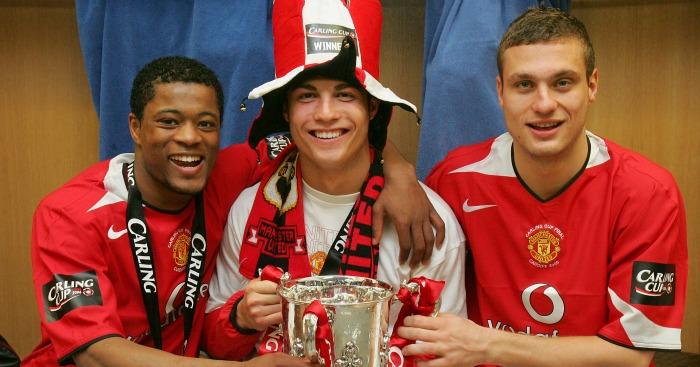 Patrice Evra, Cristiano Ronaldo, Nemanja Vidic: Carling Cup 2006