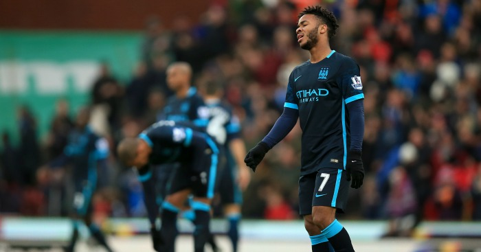 Raheem Sterling: Looks dejected during Manchester City's defeat at Stoke City