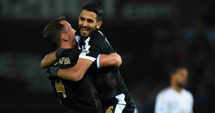 Riyad Mahrez: Celebrates his first with Danny Drinkwater