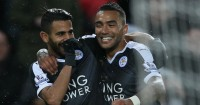 Riyad Mahrez: Celebrates Leicester's third with Danny Simpson