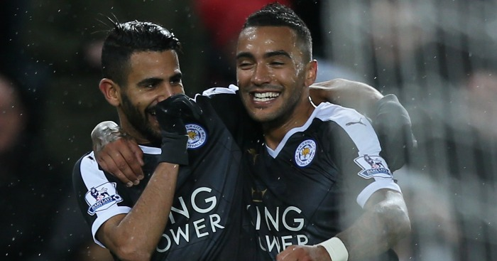 Riyad Mahrez: Celebrates Leicester's third with Danny Simpson