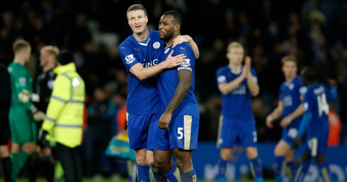 Robert Huth and Wes Morgan: Celebrate Leicester City's draw against Manchester City